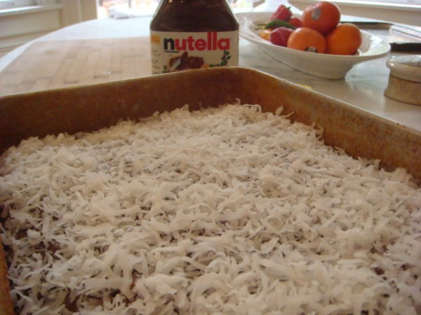 Coconut on frosting - Beyond the Pasta - Coconut Yogurt Cake with Nutella Frosting