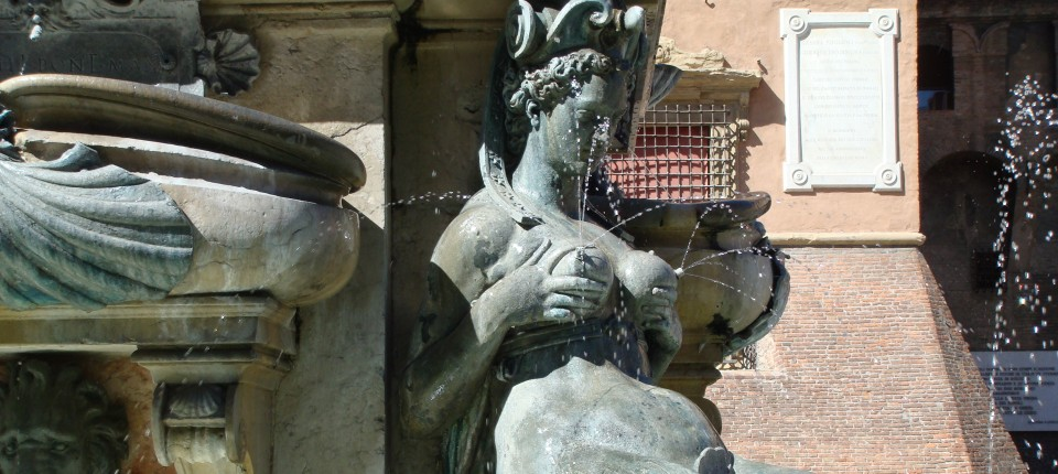 Detail of the Fontana di Nettuno (Neptune Fountain) in the Piazza Maggiore, Bologna, Italy