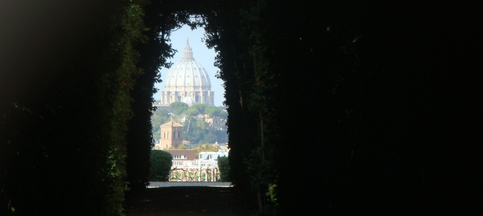 Saint Peter's as viewed through the keyhole on the Aventine Hill, Rome, Italy.