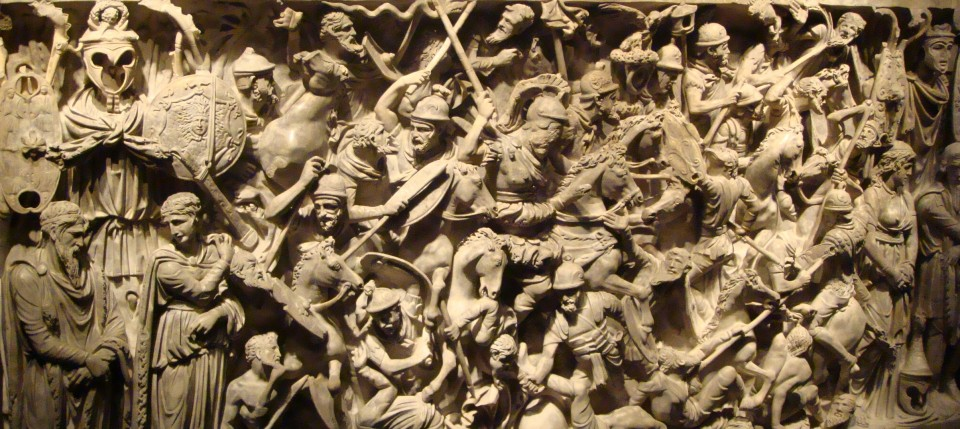Carved sarcophagus depicting a battle between Romans and Barbarians, Museo Nazionale Romano, Rome, Italy