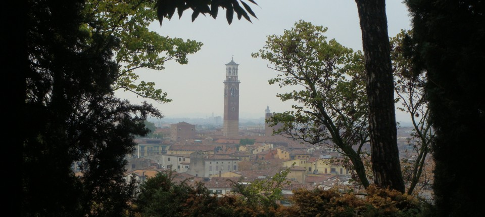 Torre Lamberti, as viewed from the bellevedere at Giardini Giusti, Verona, Italy