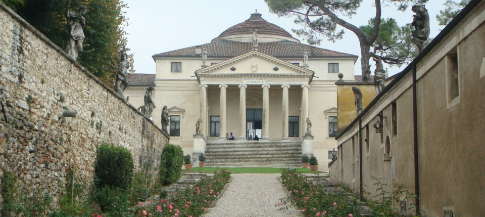 The entrance to La Rotunda, Vicenza, Italy...the house designed by Palladio, on which Thomas Jefferson based Monticello