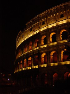 Day 14 Photo- the Colosseum at night.