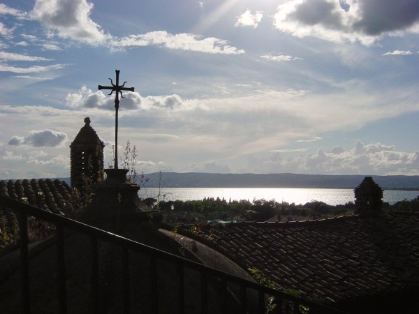 Day 22 Photo- overlooking Bolsena rooftops onto Lago di Bolsena.