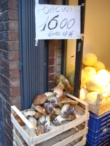 Day 3 Photo- Porcini mushrooms outside a market doorway