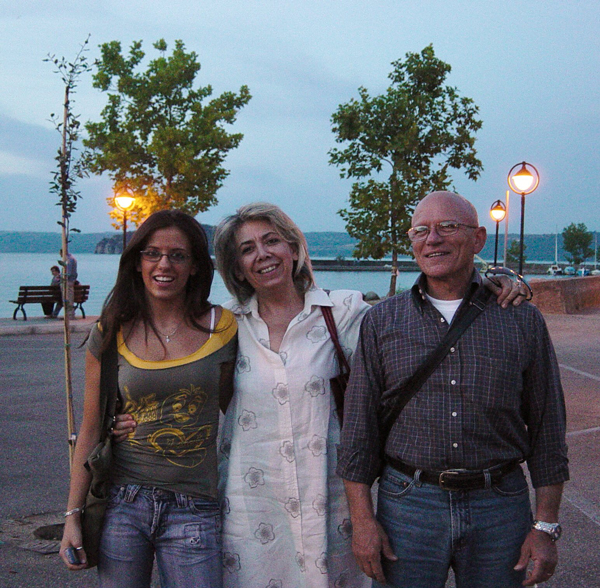 Day 7 Photo- Francesca, Alessandra and Lillo in the town of Marta in front of Lago di Bolsena