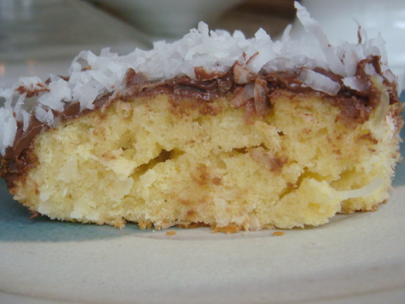 Piece of Coconut Yogurt Cake with Nutella - Beyond the Pasta