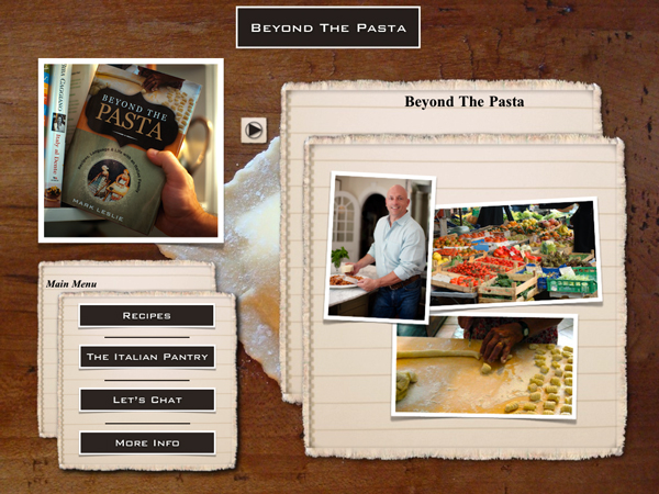 "Beyond the Pasta iPad intro page ""Mark Leslie"""