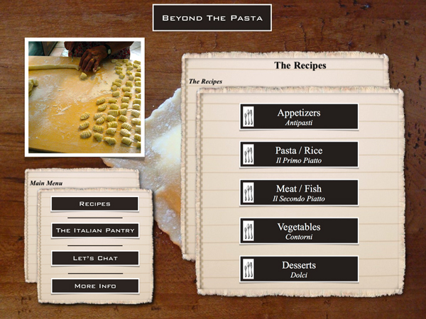 "Beyond the Pasta iPad app menu page ""Mark Leslie"""
