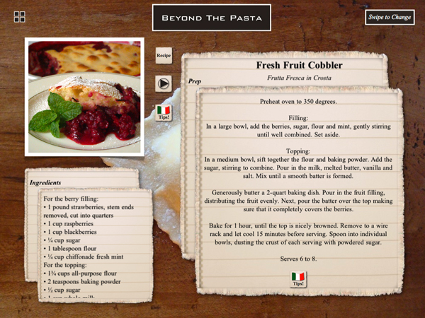 "Beyond the Pasta iPad app recipe page ""Mark Leslie"""